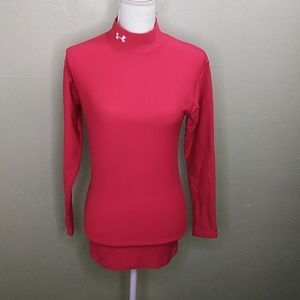 Under Armour Red Mock Turtleneck Top M